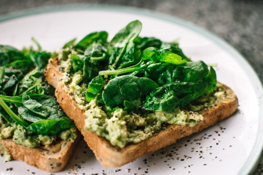 Toast with basil and avocado