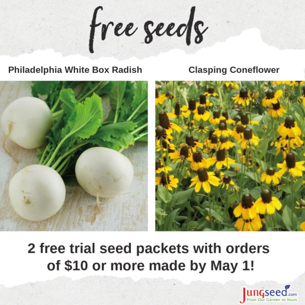 Free seeds on orders over $10 by May 1