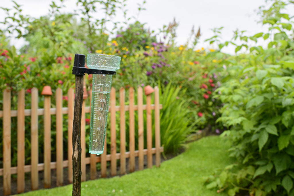 A rain gauge in the garden