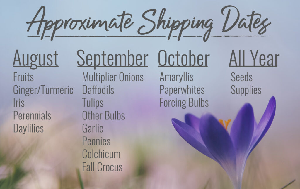 Shipping dates for Jung Seed products
