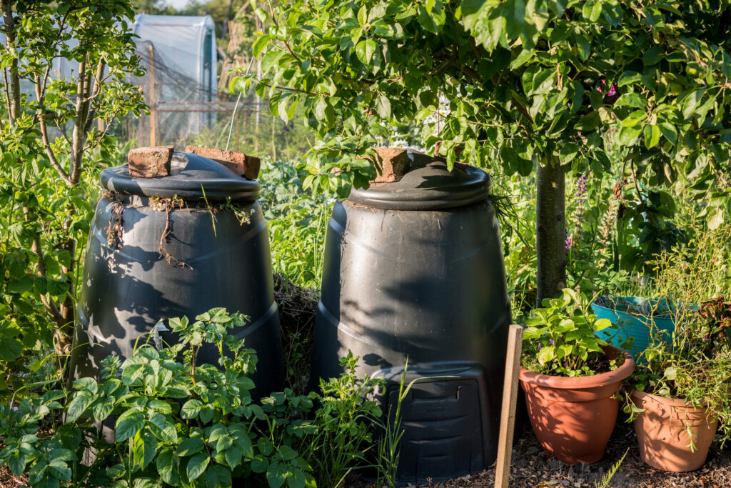 Two black plastic compost bins in a community garden setting, one full with rotting vegetation.