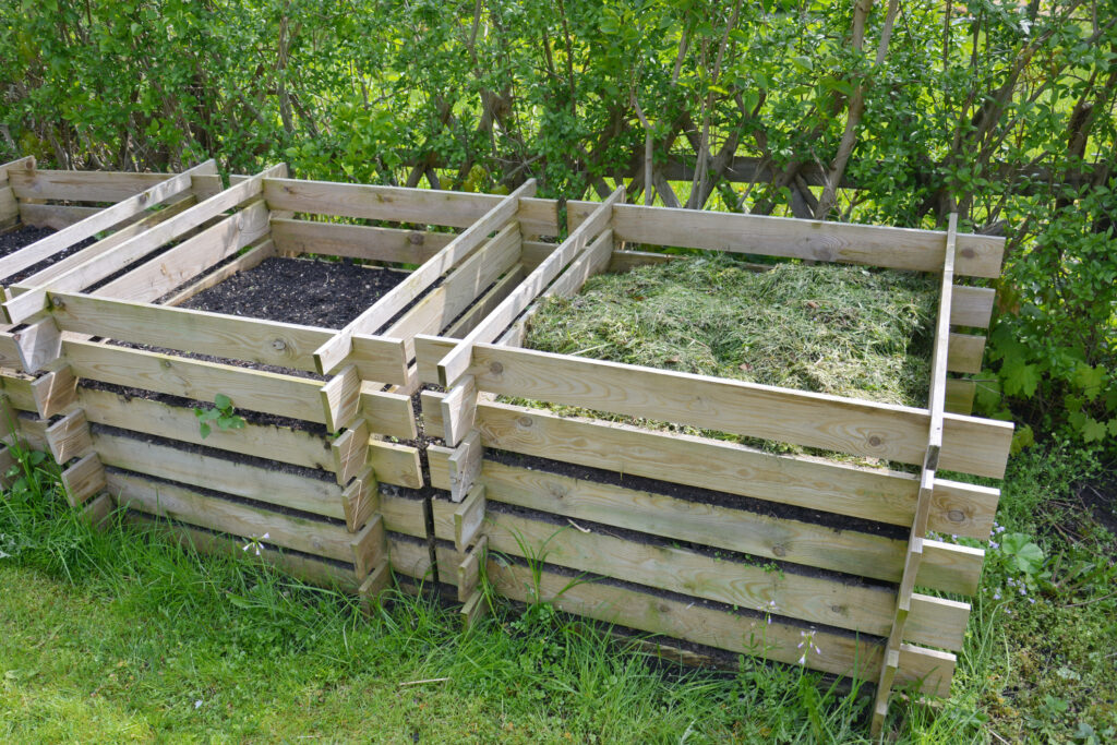 Wooden boxes filled with compost