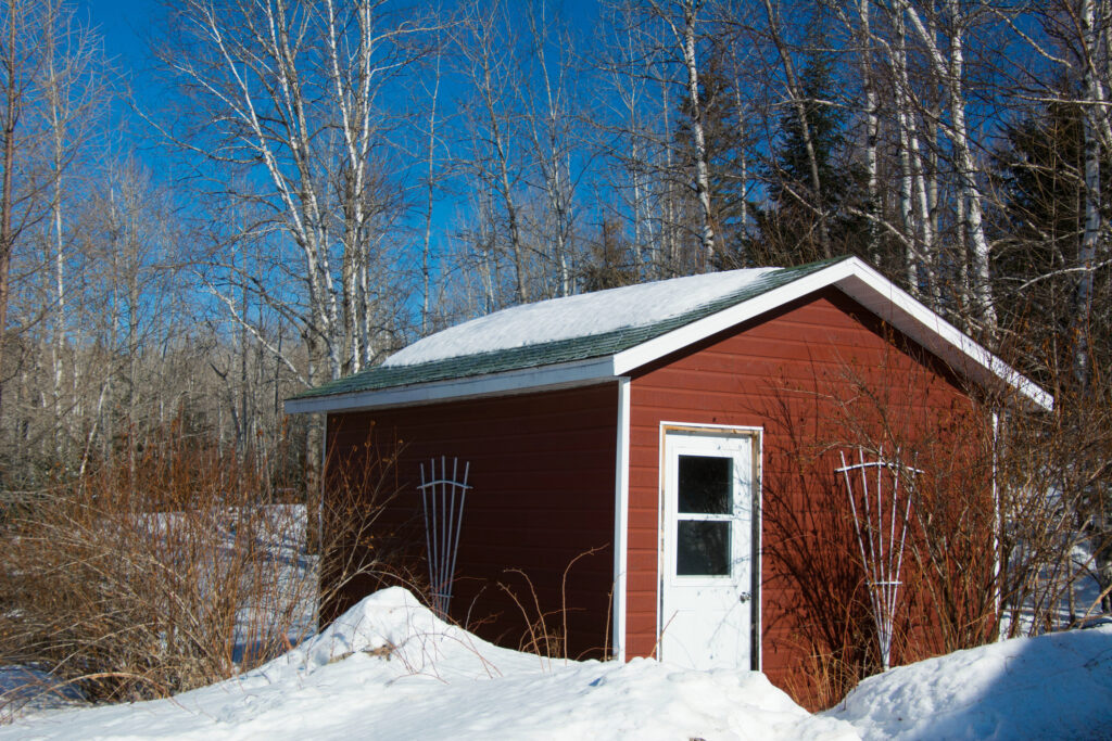 Garden shed during winter