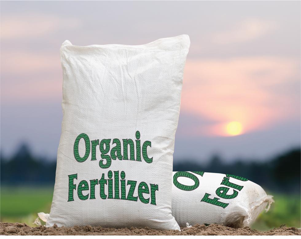 Bags of organic fertilizer