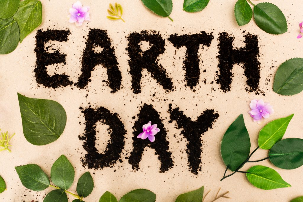 Top view of earth day lettering with leaves and buds on beige background