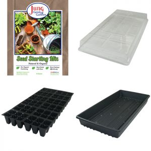 A seed start kit with trays and seed mix