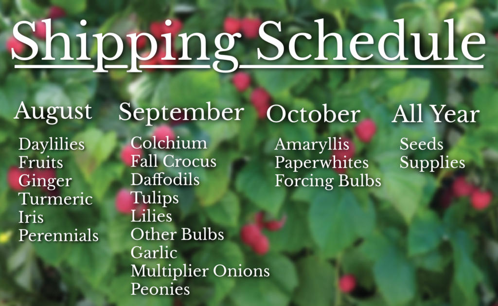 Fall Shipping Schedule 2021 For Jung Seed