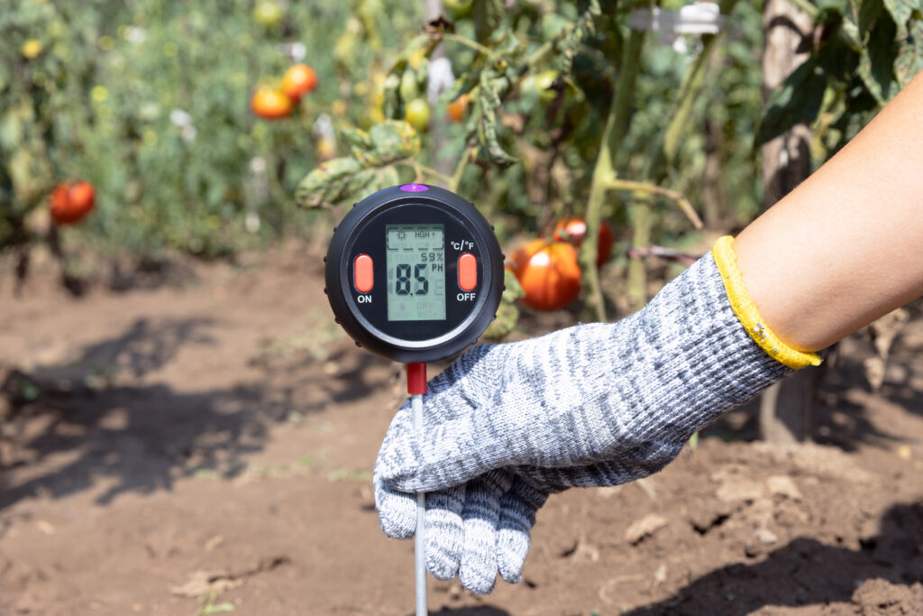 Measuring soil pH value, environmental illumination and humidity in a vegetable garden